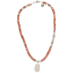 Moonshine Peach Moonstone Sterling Silver Necklace