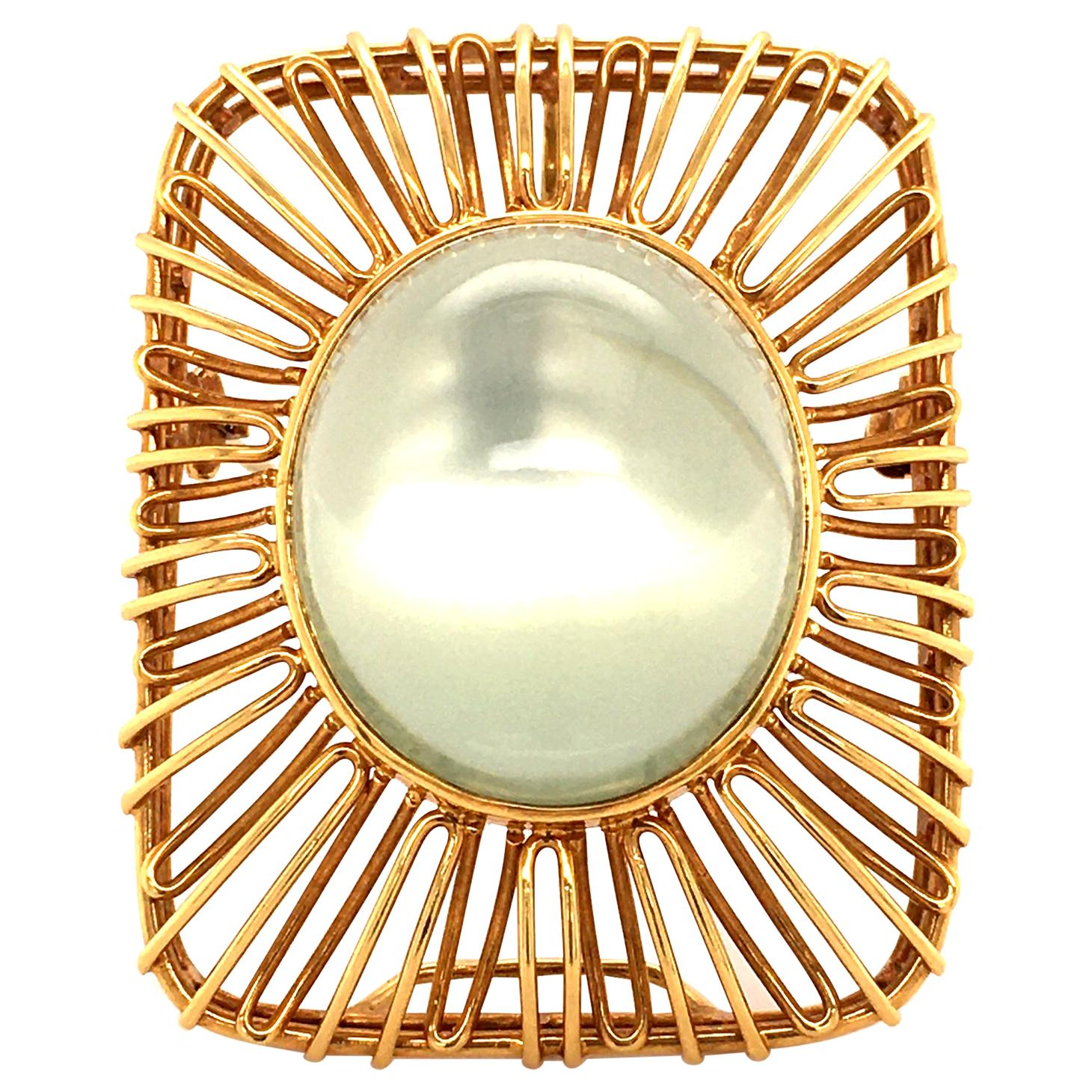 Moonstone 18 Karat Yellow Gold Brooch/Pendant