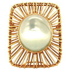 Moonstone 18 Karat Yellow Gold Brooch/Pendant