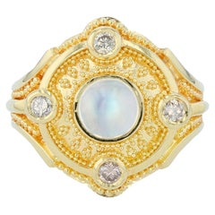 Moonstone and Champagne Diamond 18 Karat Gold Granulation Cocktail Ring