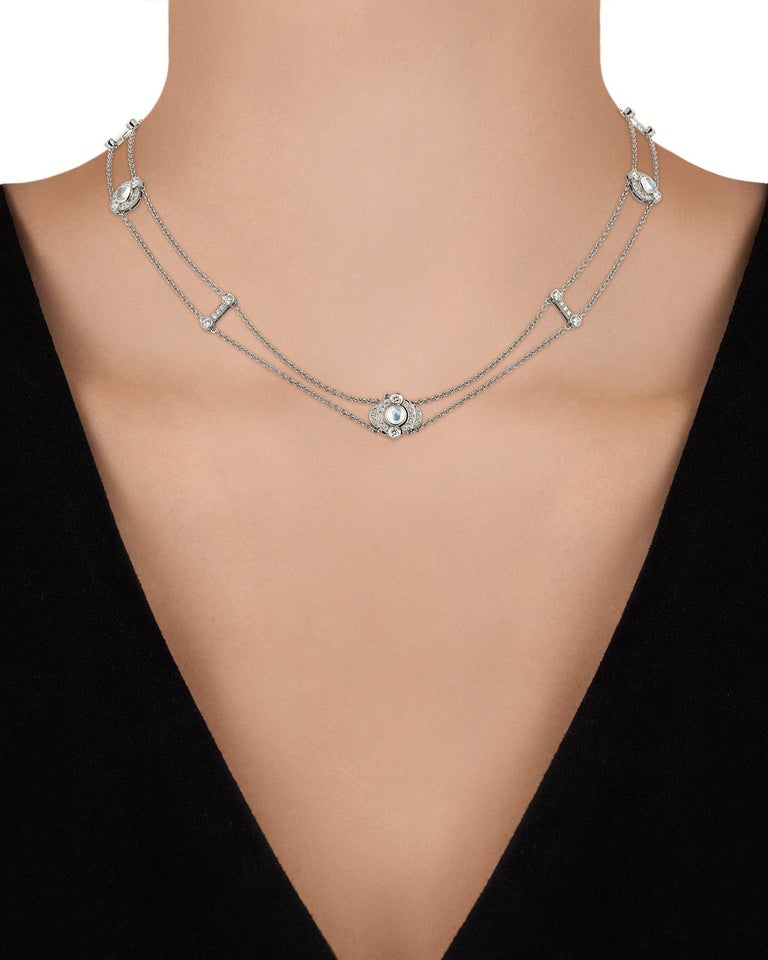 Moonstone and Diamond Double-Strand Necklace by Tiffany & Co. In Excellent Condition For Sale In New Orleans, LA