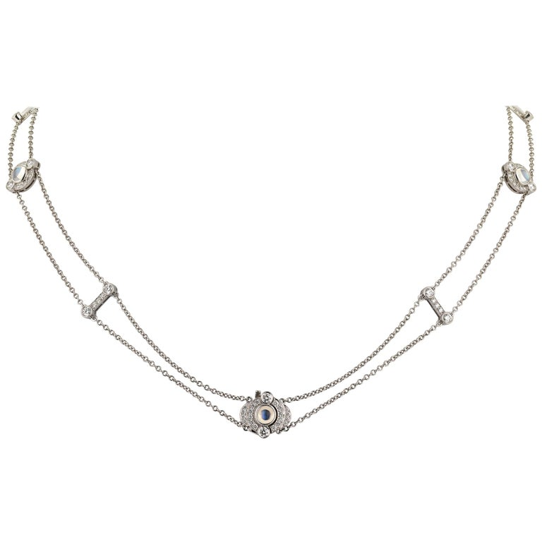 Moonstone and Diamond Double-Strand Necklace by Tiffany & Co. For Sale