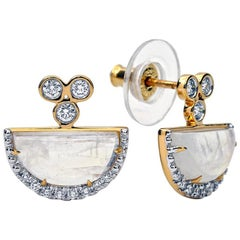 Moonstone and Diamond Earrings, 18 Karat Yellow Gold