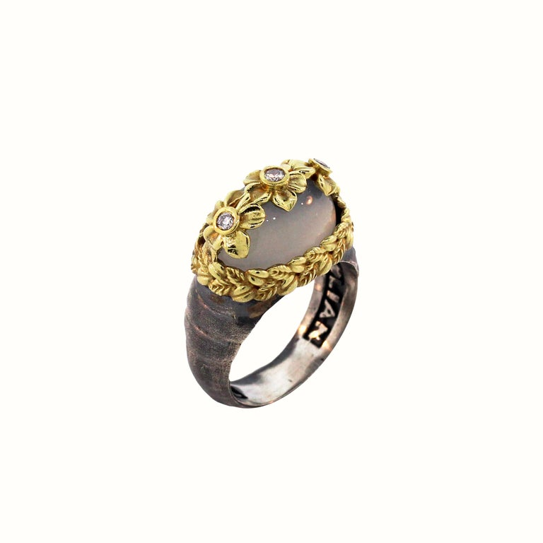 Women's Moonstone and Diamond Floral Ring with Sterling Silver and Gold Stambolian For Sale