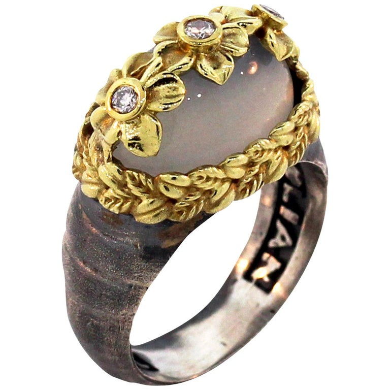 Moonstone and Diamond Floral Ring with Sterling Silver and Gold Stambolian For Sale