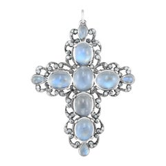 Moonstone and Diamond, Gold Cross Pendant