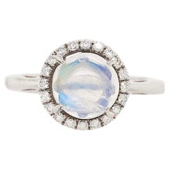 Moonstone and Diamond Halo Engagement Ring, Modern Platinum Engagement Ring