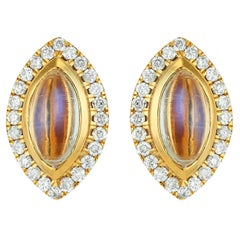 Moonstone and Diamond Marquise Stud Earrings 18 Karat Yellow Gold