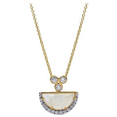 Moonstone and Diamond Necklace, 18 Karat Yellow Gold