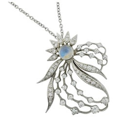 Moonstone and Diamond Necklace, circa 1950s in White Gold