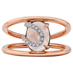 Moonstone and Diamond Ring, 18 Karat Rose Gold