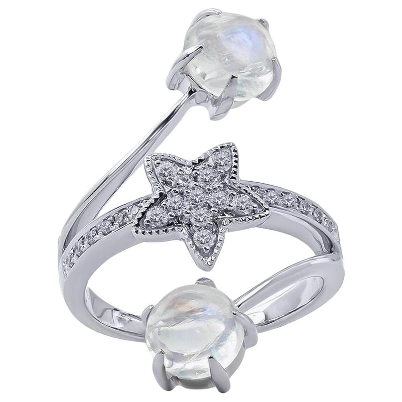 Moonstone and Diamond Ring, 18 Karat White Gold