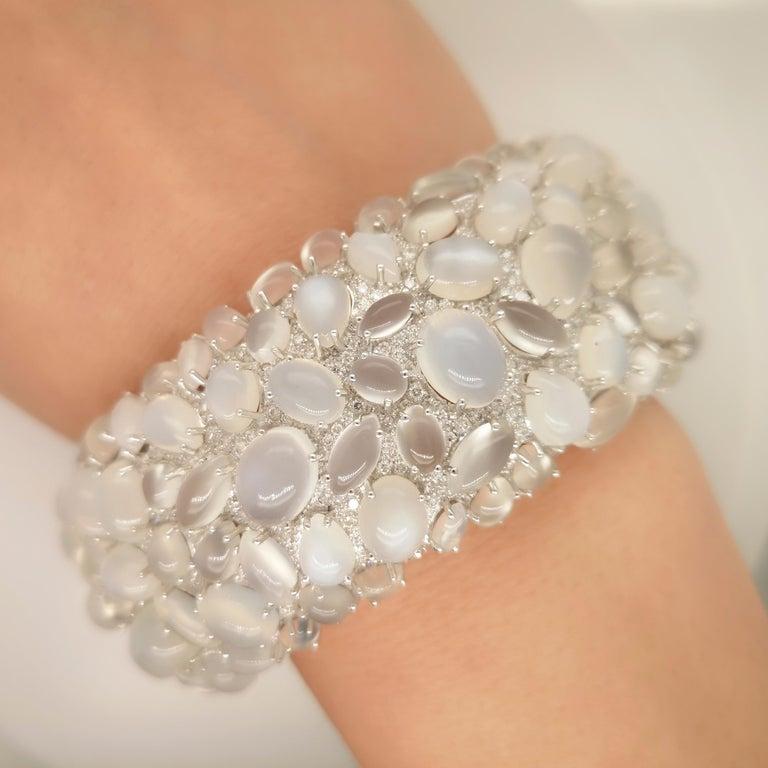 Moonstone and Diamond White Gold Bangle Bracelet For Sale 2