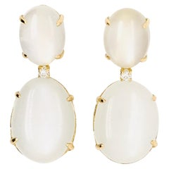 Moonstone and Diamonds on Yellow Gold 18 Karat Chandelier Earring