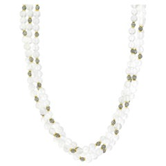 3-Strand Moonstone and Labradorite Bead Necklace with 18k Yellow Gold Spacers