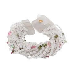 Moonstone and Multi-Color Tourmaline Multistring Bracelet
