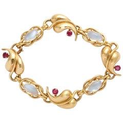 Moonstone and Ruby Retro Gold Bracelet