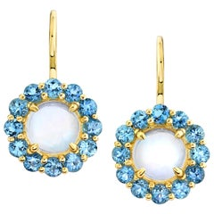 Moonstone and Santa Maria Aquamarine, Yellow Gold French Wire Drop Earrings