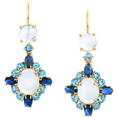 Moonstone, Aquamarine and Sapphire 18 Karat Gold French Wire Drop Earrings