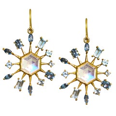 Moonstone Aquamarine Gold Star Earrings by Lauren Harper