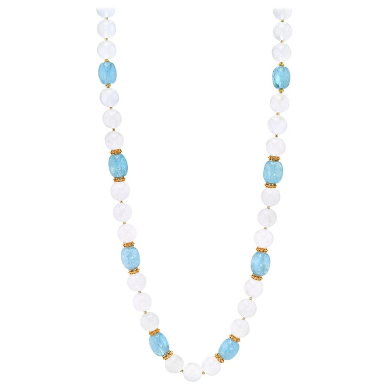 Moonstone Bead and Aquamarine Bead Necklace, 18 Karat & 22k Yellow Gold Spacers For Sale