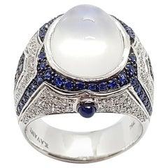 Moonstone, Blue Sapphire, Diamond and Black Diamond Ring in 18 Karat White Gold