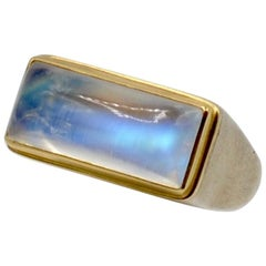 Moonstone Cabochon Bar Set in 18 Karat with Sterling Silver Ring