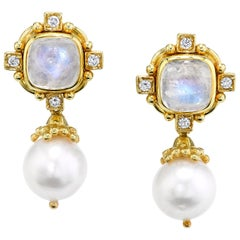 Moonstone Cabochon, Diamond and Pearl Drop Earrings, 14 Karat Yellow Gold