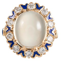 Moonstone Cabochon, Diamond and Enamel Ring