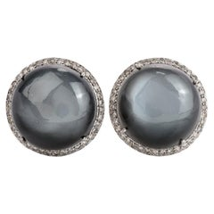 Moonstone Cabochons Diamond Stud Clipon Earrings