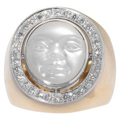Moonstone Cameo and Diamond Ring