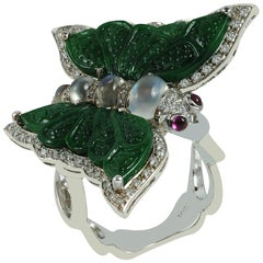 Moonstone, Carve Jade, Cabochon Ruby, Diamond Butterfly Rings in 18K White Gold
