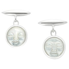 Moonstone Carved Moonface Silver Cufflinks