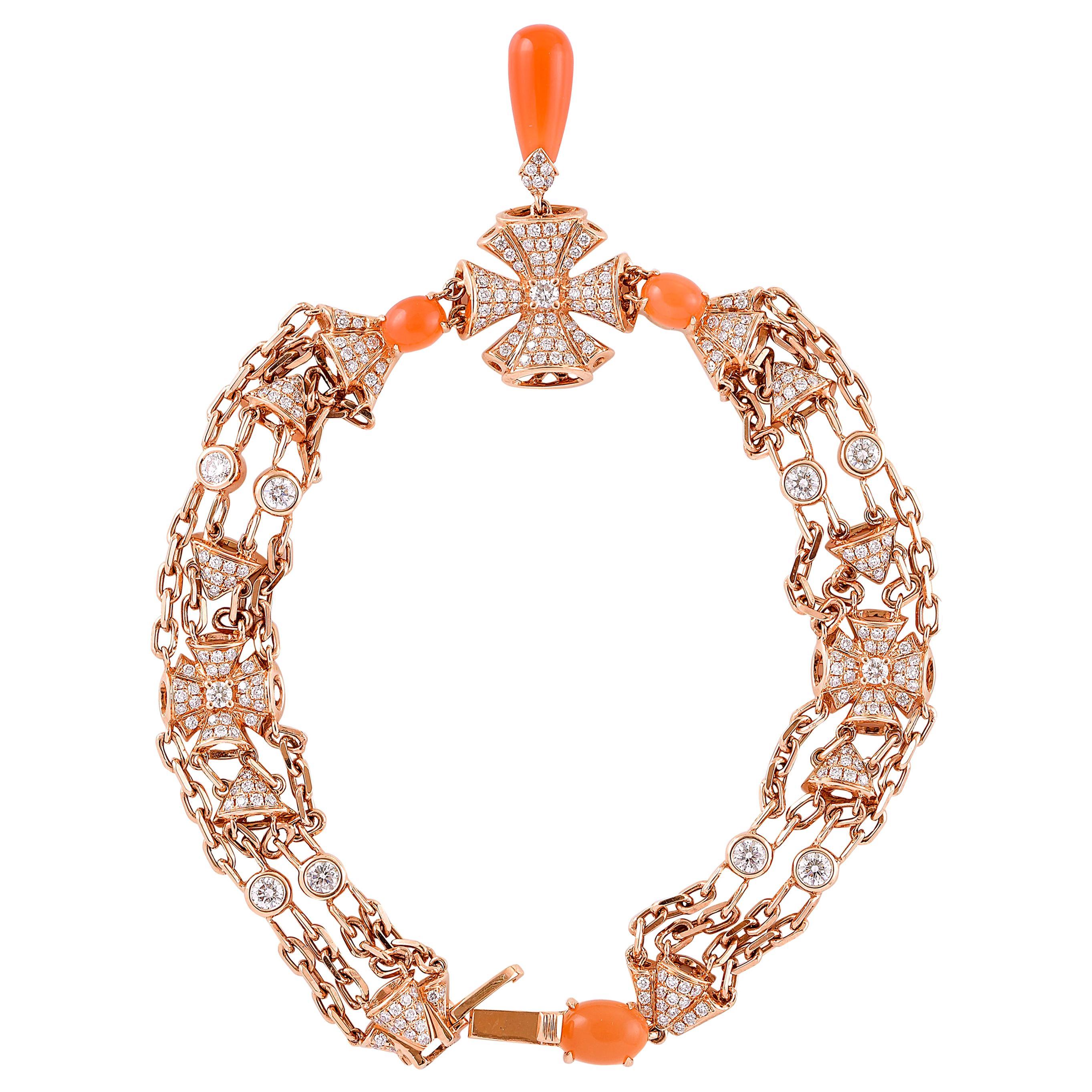 Moonstone Chandelier Bracelet in 18 Karat Rose Gold with Diamonds