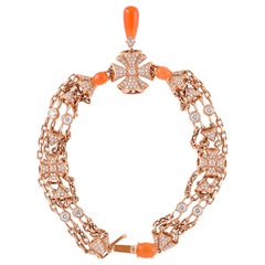 Moonstone Chandelier Bracelet in 18 Karat Rose Gold with Diamonds