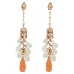 Moonstone Chandelier Earrings in 18 Karat Rose Gold with Diamonds and Color Gems