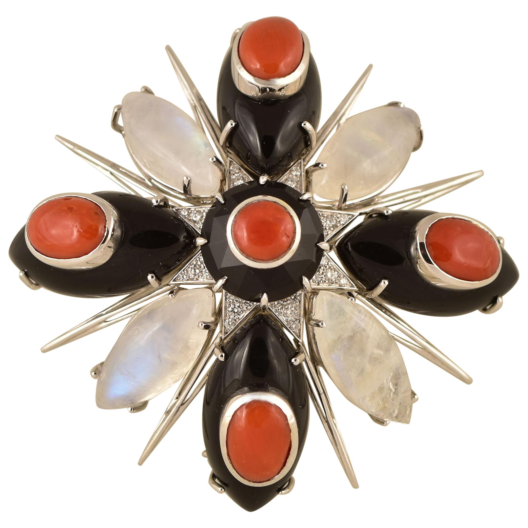 Moonstone, Coral and Black Onyx Gold Brooch Pin Tony Duquette Fine Jewelry