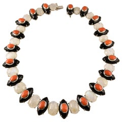 Moonstone, Coral and Black Onyx Gold Necklace Tony Duquette Fine Jewelry