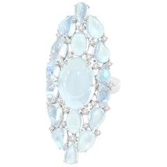 Moonstone Diamond 18 Karat Gold Ring