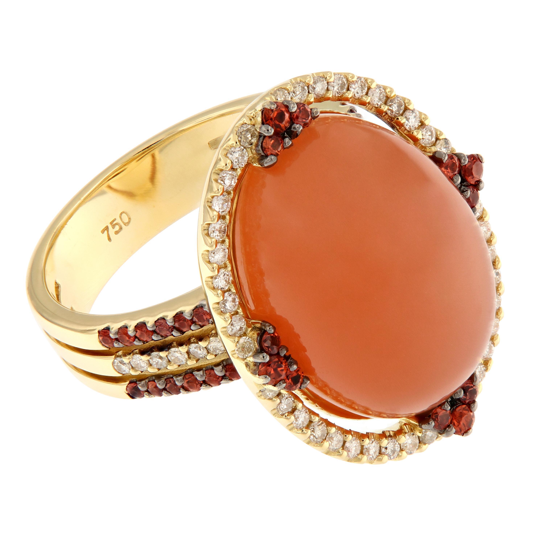 Mandarin Moonstone, Diamond and Orange Sapphire 18 Karat Yellow Gold Ring