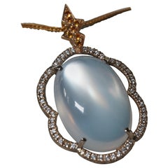 Moonstone, Diamond and Yellow Sapphire Pendant and A 18K Yellow Gold Chain