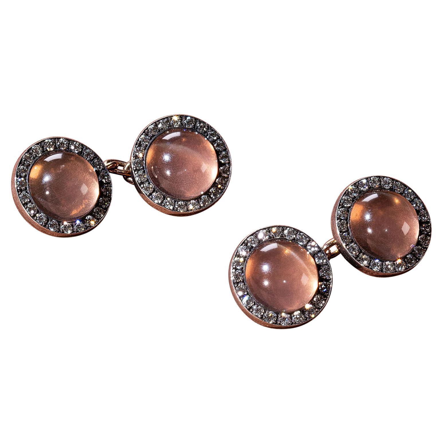 Moonstone Diamond Cufflinks, 20th Century
