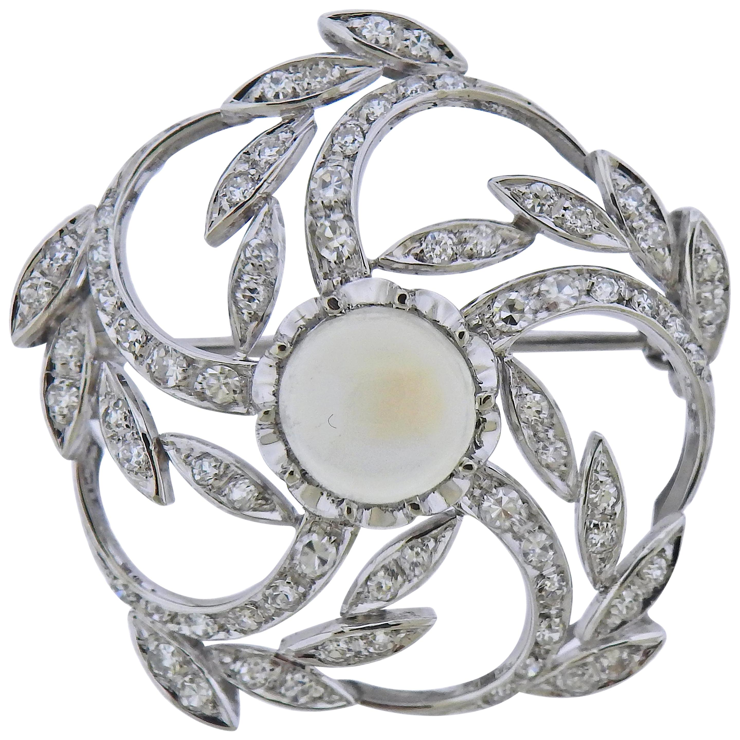 Moonstone Diamond Gold Brooch Pin