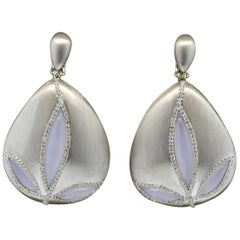Moonstone Diamond Gold Flower Drop Earrings