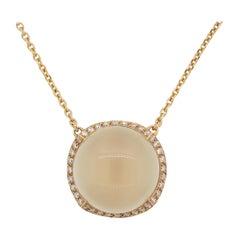 Moonstone Diamond Gold Necklace