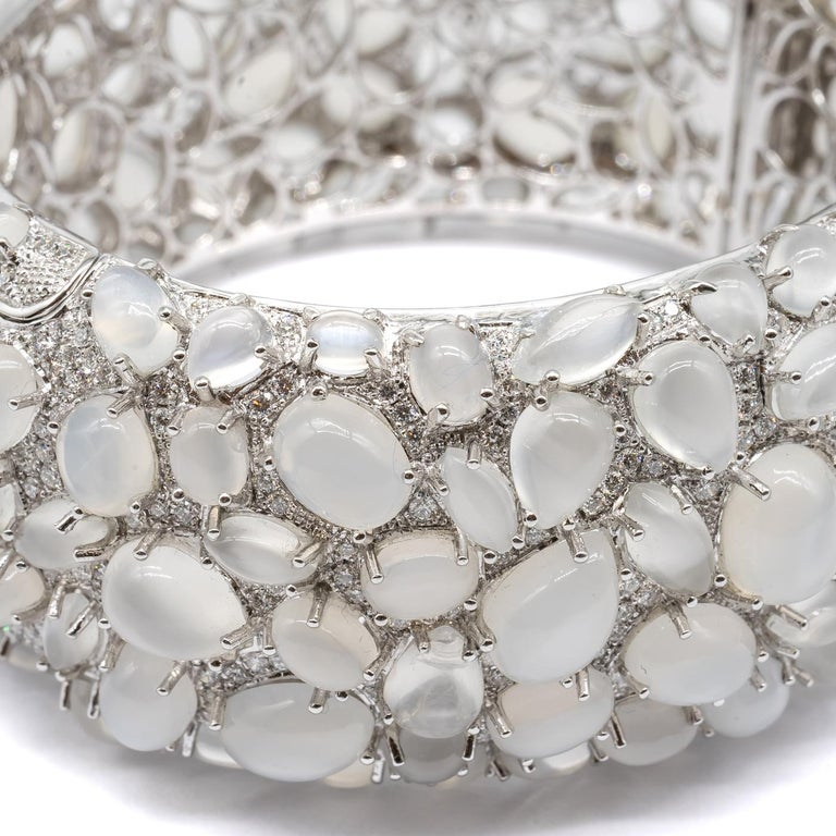 Modern Moonstone and Diamond White Gold Bangle Bracelet For Sale