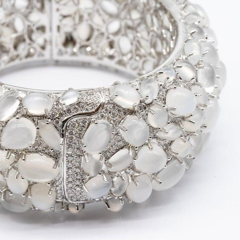 Women's Moonstone and Diamond White Gold Bangle Bracelet For Sale