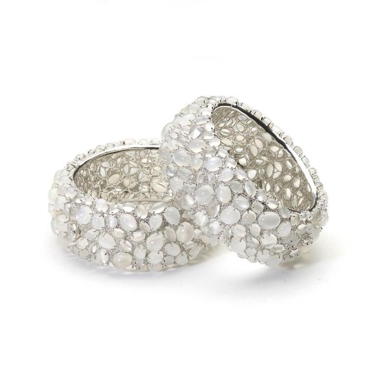 Moonstone and Diamond White Gold Bangle Bracelet For Sale 1
