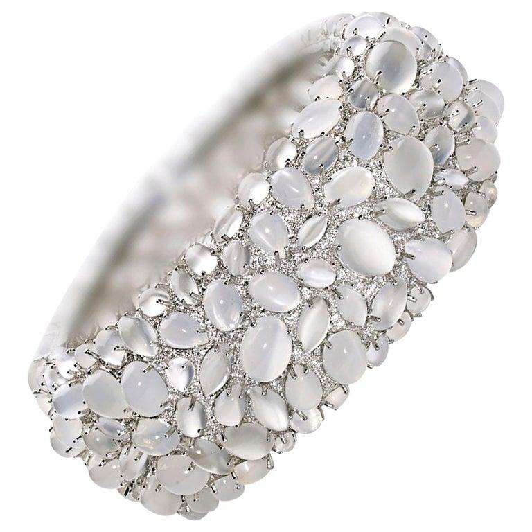 Moonstone and Diamond White Gold Bangle Bracelet For Sale