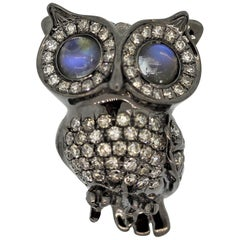 Moonstone Diamond Gold Rhodium Owl Pin Brooch